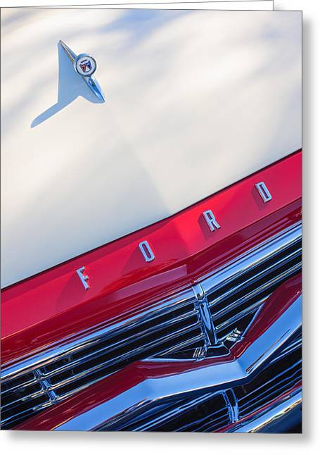 Ford Custom Greeting Cards - 1957 Ford Custom 300 Series Ranchero Hood Ornament - Emblem Greeting Card by Jill Reger