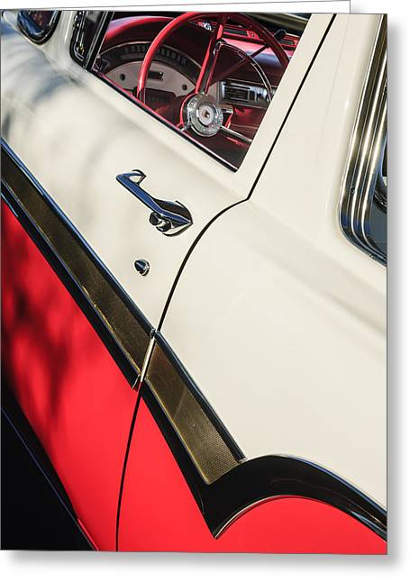 Ford Custom Greeting Cards - 1957 Ford Custom 300 Series Ranchero Steering Wheel Greeting Card by Jill Reger
