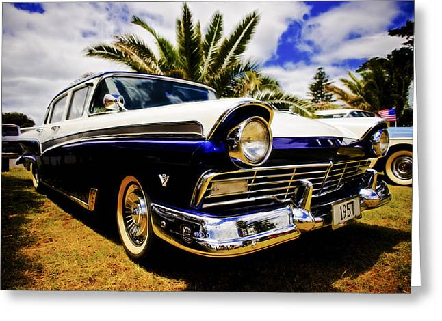 Custom Ford Greeting Cards - 1957 Ford Custom Greeting Card by motography aka Phil Clark