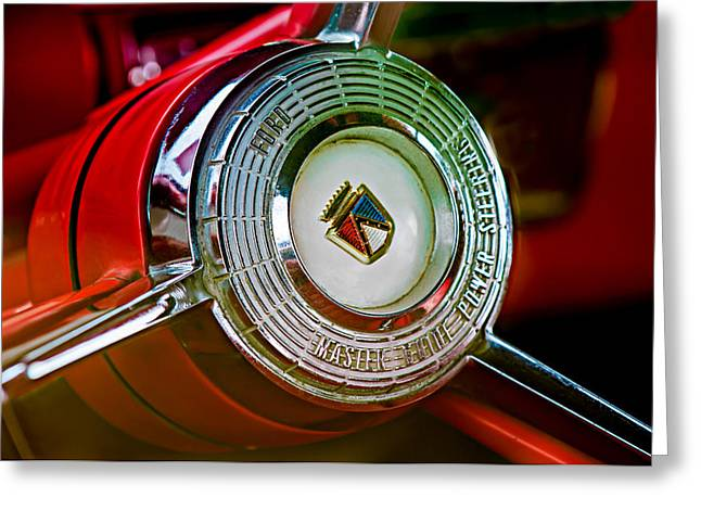 1957 Ford Fairlane Convertible Steering Wheel Emblem Greeting Card by Jill Reger