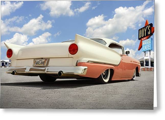 Lowrider Greeting Cards - 1957 Ford Fairlane Lowrider 2 Greeting Card by Mike McGlothlen