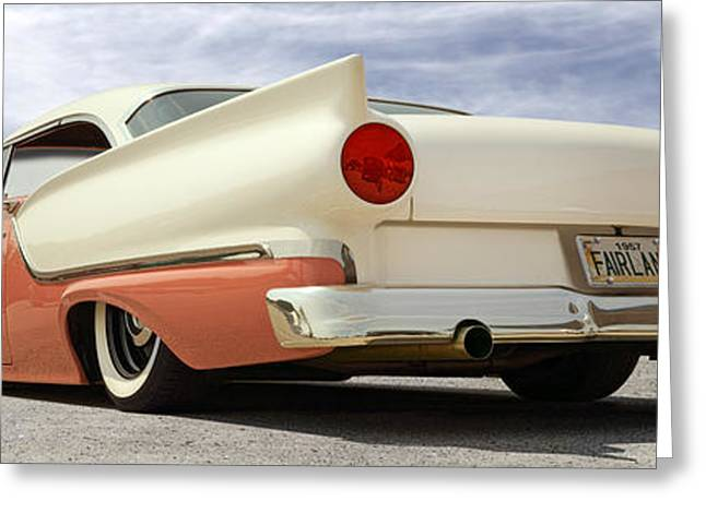 Lowrider Greeting Cards - 1957 Ford Fairlane Lowrider Greeting Card by Mike McGlothlen