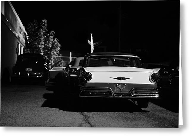 1957 Ford Noir Greeting Card by Laura Fasulo