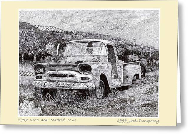 Wildcats Drawings Greeting Cards - 1957 G M C Pick Up Truck Greeting Card by Jack Pumphrey