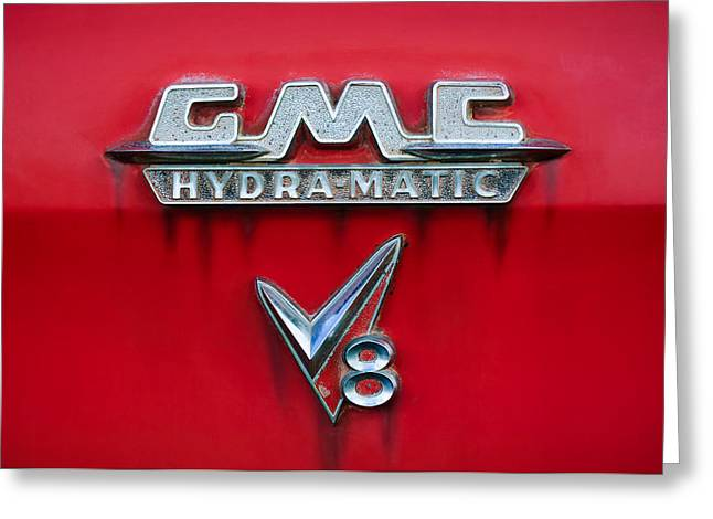 Gmc Greeting Cards - 1957 GMC Hydra-Matic V8 Emblem Greeting Card by Jill Reger