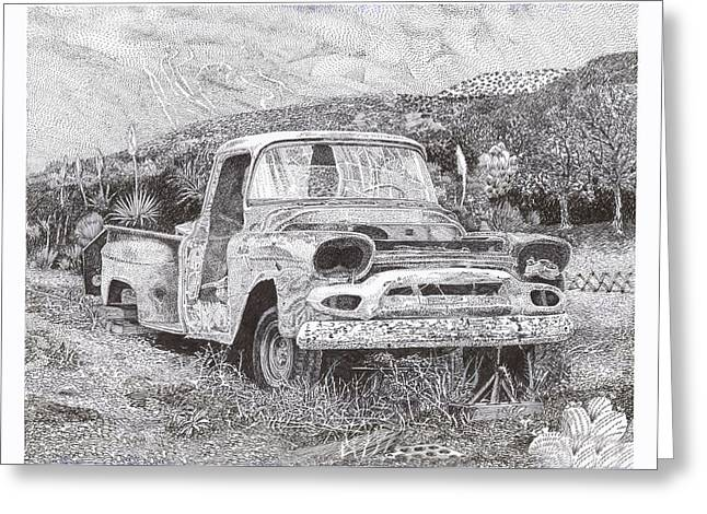 Pen And Ink Framed Prints Greeting Cards -  57 G M C Ran When Parked Greeting Card by Jack Pumphrey