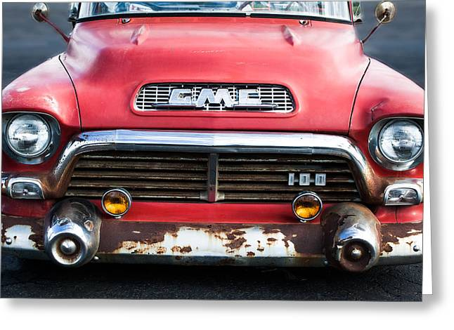Classic Pickup Truck Greeting Cards - 1957 GMC V8 Pickup Truck Grille Emblem Greeting Card by Jill Reger