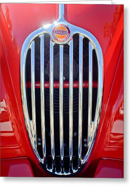 Fix Greeting Cards - 1957 Jaguar XK140 MC Fixed Head Coupe Grille Emblem 2 Greeting Card by Jill Reger