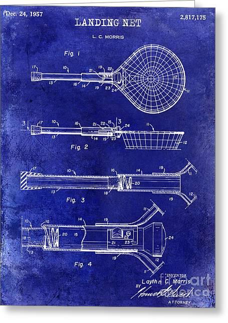 Lake House Greeting Cards - 1957 Landing Net Patent Drawing Blue Greeting Card by Jon Neidert