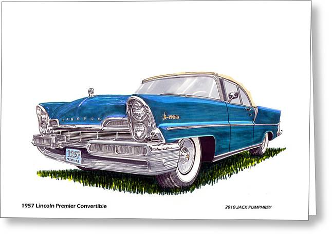 Paint Photograph Paintings Greeting Cards - 1957 Lincoln Premier Convertible Greeting Card by Jack Pumphrey