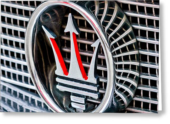 Italian Marque Greeting Cards - 1957 Maserati Grille Emblem Greeting Card by Jill Reger
