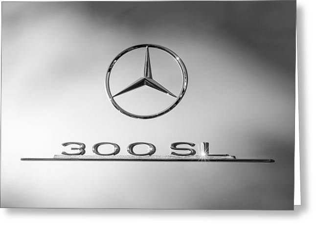 Gullwing Greeting Cards - 1957 Mercedes-Benz 300 SL Gullwing Emblem Greeting Card by Jill Reger