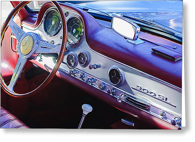 Steering Greeting Cards - 1957 Mercedes-Benz 300 SL Gullwing Steering Wheel Emblem Greeting Card by Jill Reger