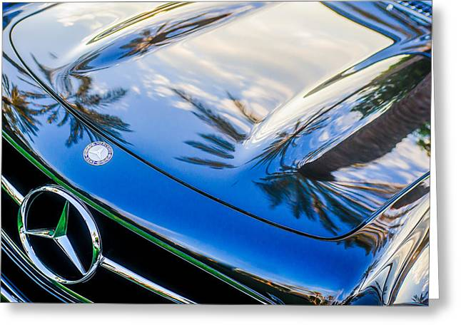 Famous Photographer Greeting Cards - 1957 Mercedes-Benz 300SL Grille Emblem -0167c Greeting Card by Jill Reger