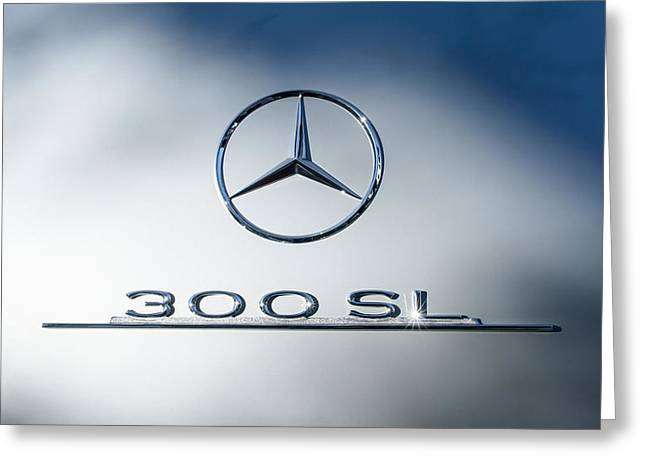 Mercedes 300sl Gullwing Greeting Cards - 1957 Mercedes-Benz Gullwing 300 SL Emblem Greeting Card by Jill Reger