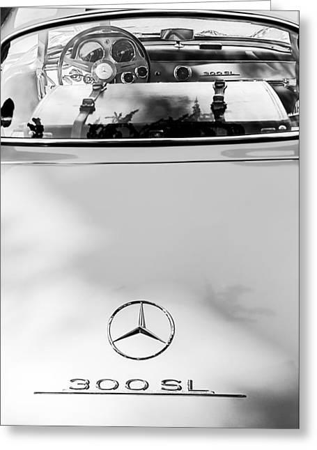 Mercedes Gullwing Greeting Cards - 1957 Mercedes-Benz Gullwing Rear Emblem Greeting Card by Jill Reger