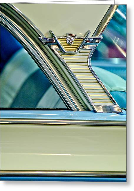 Monterey Greeting Cards - 1957 Mercury Monterey Sedan Emblem Greeting Card by Jill Reger