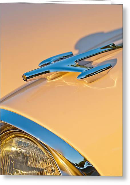 Collector Hood Ornament Greeting Cards - 1957 Oldsmobile Hood Ornament 6 Greeting Card by Jill Reger