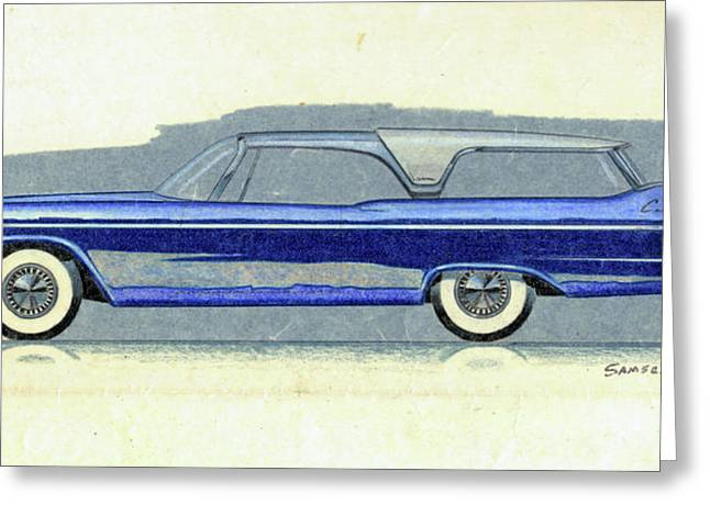 Station Wagon Drawings Greeting Cards - 1957 PLYMOUTH CABANA  station wagon styling design concept sketch Greeting Card by John Samsen