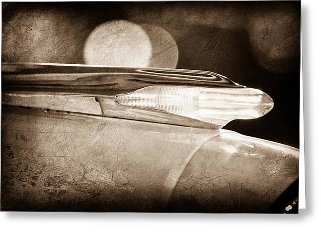 Bonneville Pictures Greeting Cards - 1957 Pontiac Bonneville Fenderspear Hood Ornament Greeting Card by Jill Reger