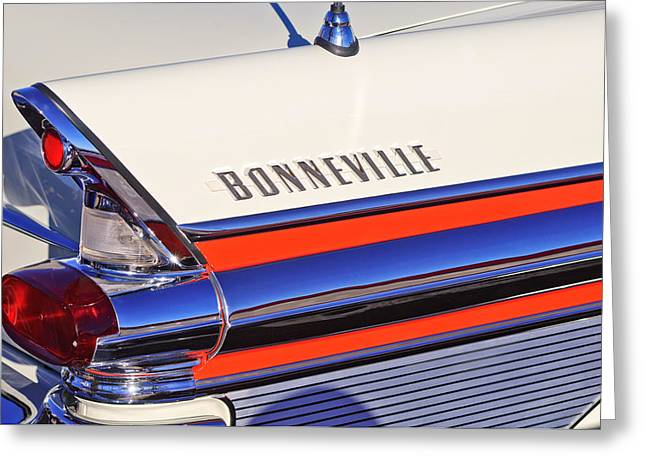 Bonneville Pictures Greeting Cards - 1957 Pontiac Bonneville Taillights Greeting Card by Jill Reger