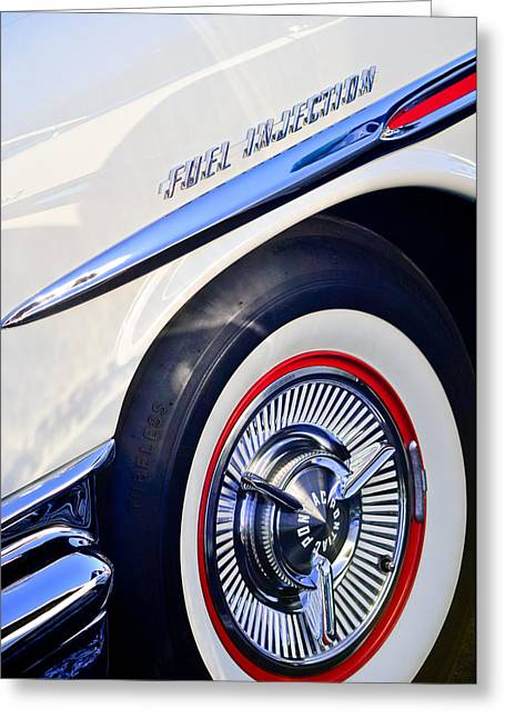 Bonneville Images Greeting Cards - 1957 Pontiac Bonneville Wheel Greeting Card by Jill Reger