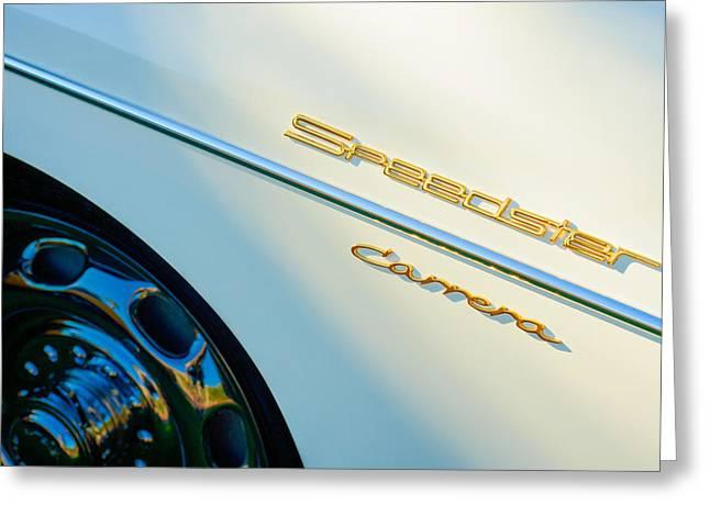 Speedster Greeting Cards - 1957 Porsche 356 A Carrera 1500 GS Speedster Emblem Greeting Card by Jill Reger