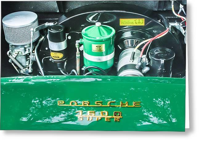 Speedster Greeting Cards - 1957 Porsche 356 A Speedster Engine Emblem Greeting Card by Jill Reger