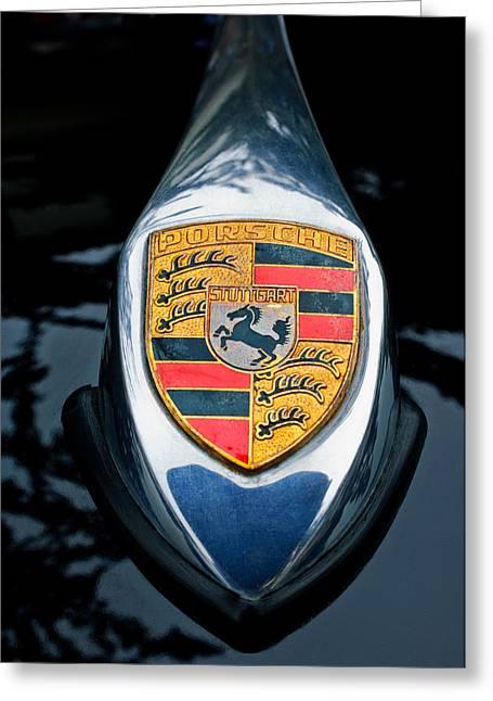 Famous Photographers Greeting Cards - 1957 Porsche 356 A Spreedster Hood Emblem Greeting Card by Jill Reger