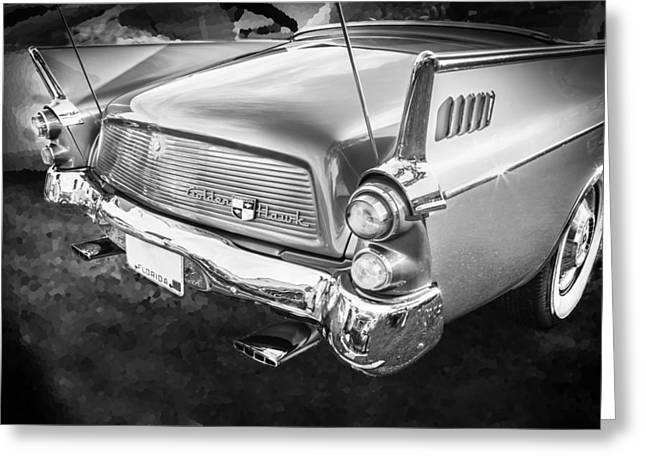 Rally Greeting Cards - 1957 Studebaker Golden Hawk BW    Greeting Card by Rich Franco
