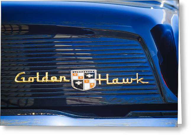 Supercharged Greeting Cards - 1957 Studebaker Golden Hawk Supercharged Sports Coupe Emblem Greeting Card by Jill Reger