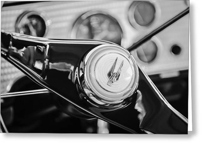 Supercharged Greeting Cards - 1957 Studebaker Golden Hawk Supercharged Sports Coupe Steering Wheel Emblem -1202bw Greeting Card by Jill Reger