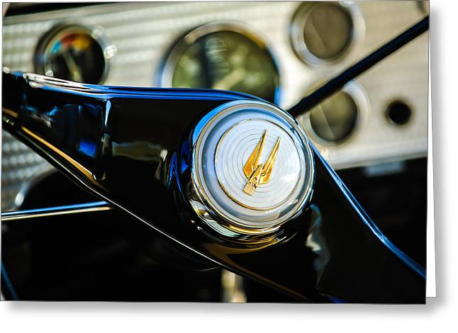 Supercharged Greeting Cards - 1957 Studebaker Golden Hawk Supercharged Sports Coupe Steering Wheel Emblem Greeting Card by Jill Reger