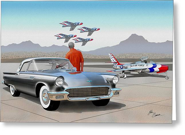 Valiant Greeting Cards - 1957 THUNDERBIRD  with F-84 gunmetal vintage Ford classic art sketch rendering           Greeting Card by John Samsen