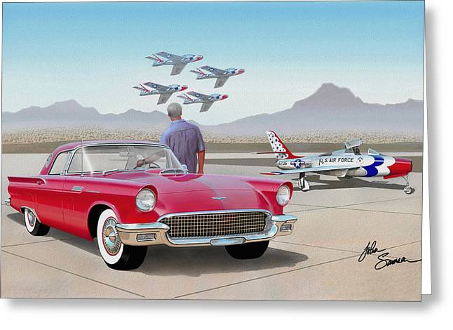 Valiant Greeting Cards - 1957 THUNDERBIRD  with F-84 Thunderbirds  red  classic Ford vintage art sketch rendering         Greeting Card by John Samsen