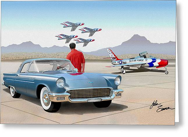 1955 Paintings Greeting Cards - 1957 Thunderbird  with F84 Thunderbirds  azure blue  classic rendering  Greeting Card by John Samsen