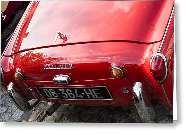 Chrome Emblem Greeting Cards - 1957 Triumph TR3 Greeting Card by Nomad Art And  Design