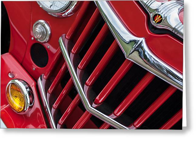 Willys Greeting Cards - 1957 Willys Jeep 6-226 Wagon Grille Emblem Greeting Card by Jill Reger