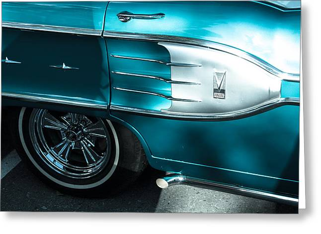 1958 Blue Pontiac Side View With Emblem Greeting Card by Eti Reid