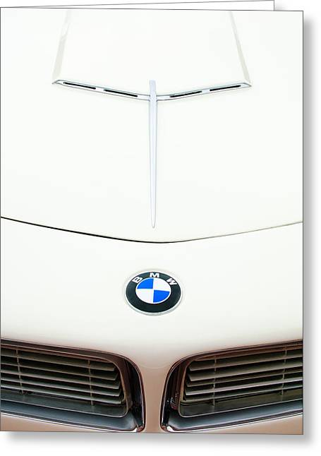 Vintage Hood Ornament Greeting Cards - 1958 BMW 507 Roadster Hood Emblem Greeting Card by Jill Reger