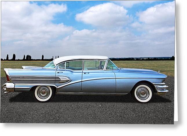Blue Buick Greeting Cards - 1958 Buick Roadmaster 75 Greeting Card by Gill Billington