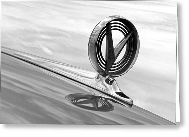 Geometric Image Greeting Cards - 1958 Buick Roadmaster 75 Hood Ornament Black and White Greeting Card by Gill Billington