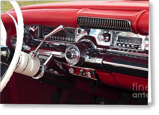 Tim Greeting Cards - 1958 Buick Special Dashboard Greeting Card by Tim Gainey
