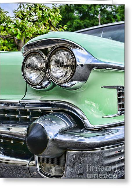 Caddy Greeting Cards - 1958 Cadillac Headlights Greeting Card by Paul Ward