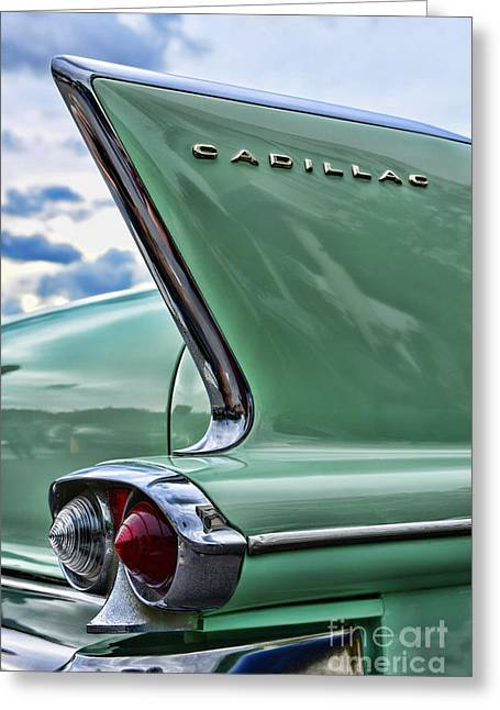 1958 Cadillac It's All In The Fin. Greeting Card by Paul Ward