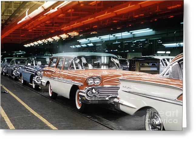 1958 Chevrolet Automobile Assembly Line Greeting Card by The Phillip Harrington Collection