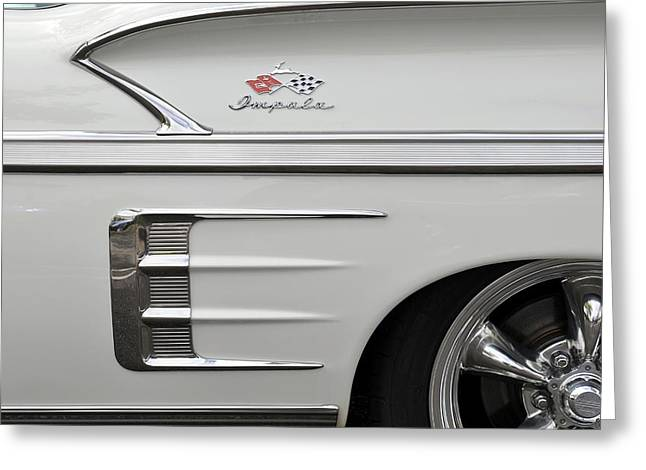 American Grafitti Greeting Cards - 1958 Chevrolet Impala Greeting Card by Classic Visions