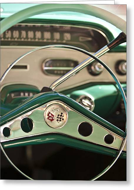 Steering Wheel Greeting Cards - 1958 Chevrolet Impala Steering Wheel Greeting Card by Jill Reger