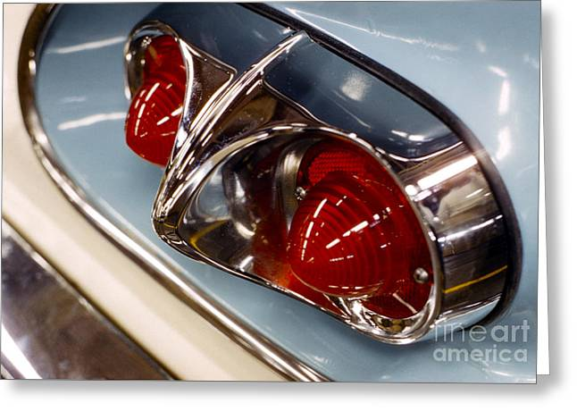 1958 Chevrolet Taillight In Baby Blue And Chrome Greeting Card by The Phillip Harrington Collection