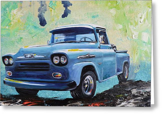 Classic Pickup Paintings Greeting Cards - 1958 Chevy Apache Pickup Truck Greeting Card by Sheri Wiseman